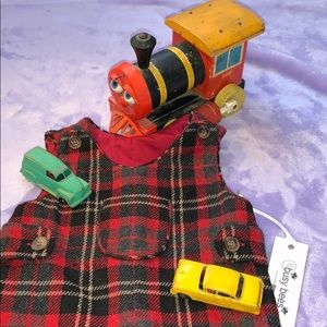 BUSY BEE RED PLAID WOOL OVERALLS NWT